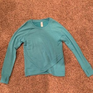 Athleta Turquoise cross over waistband sweatshirt